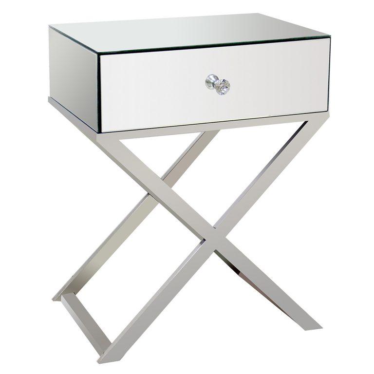 Cross Legged Mirrored Bedside Table Mirroredfurniturelab Com